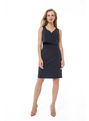 Accouchée Kolay Emzirme Özellikli Şık Elbise Lacivert